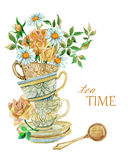 Watercolor tea cups background with spoon and flowers. Royalty Free Stock Photo