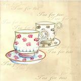Watercolor tea cups. Royalty Free Stock Photos