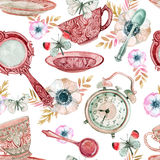 Watercolor tea seamless pattern vector illustration
