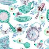 Watercolor tea seamless pattern Stock Photo