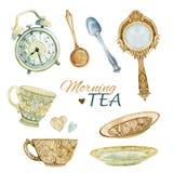 Watercolor tea set Stock Images