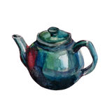 Watercolor teapot  on white Royalty Free Stock Image