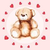 Watercolor teddy bear heart Saint Valentine's day card Royalty Free Stock Photo