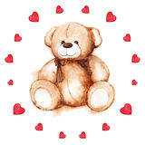 Watercolor teddy bear heart Saint Valentine's day card Royalty Free Stock Image