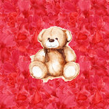 Watercolor teddy bear heart Saint Valentine`s day card Royalty Free Stock Photo