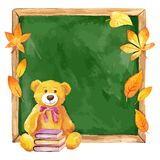 Watercolor teddy bear on the school board. Autumn leaves. Stock Images