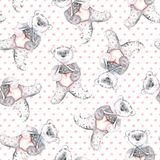 Watercolor teddy bears on a dotted pink background. Hand-painted seamless pattern for baby fabric Royalty Free Stock Images