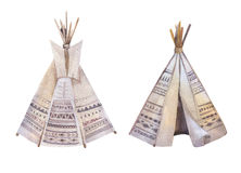 Watercolor teepee, arrows, fearhers and tomahawk. Boho america Stock Photography