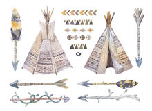 Watercolor teepee, arrows, fearhers and tomahawk. Boho america. Indians tribal style travel tent decoration. Tipi isolated illustration white backgraund Stock Image