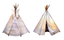 Watercolor teepee. Boho syle images.Ethnic america Royalty Free Stock Images