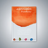 Watercolor template brochure, magazine, flyer Stock Images
