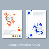 Watercolor template brochure, magazine, flyer Stock Photos