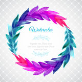 Watercolor template with wreath of colorful leaves Royalty Free Stock Photo