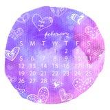 Watercolor texture calendar. February handwritten calligraphy Stock Images