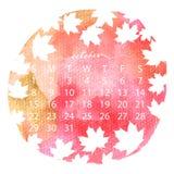Watercolor texture calendar. October handwritten calligraphy. 2017 watercolor texture calendar. October handwritten calligraphy. Vector illustration with flying Stock Photos