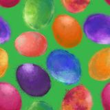 Easter Eggs Seamless Pattern in Watercolor Splatter Texture. stock illustration