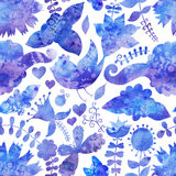 Watercolor texture with flowers and birds. Floral pattern.Origin Stock Images