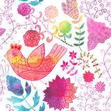 Watercolor texture with flowers.Copy that square to the side and Royalty Free Stock Photo