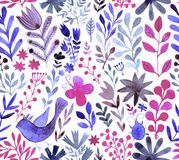 Watercolor texture with flowers and plants. Royalty Free Stock Photo