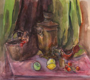 Watercolor texture painting, still life painting large Russian teapot and cup of tea. Stock Images