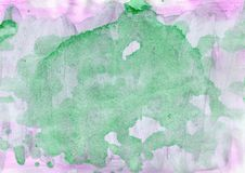 Watercolor background of green purple magenta colors stock image