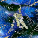 Watercolor texture seamless l pattern. Astronaut. Deep space.  M Stock Photo