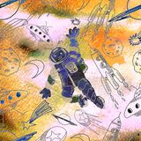 Watercolor texture seamless l pattern. Astronaut. Deep space.    Stock Photos