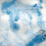 Watercolor texture of a transparent light blue color. Illustration. Watercolor blurred abstract background, blots, blur, fill, pri. Nt, splatter, rub Royalty Free Stock Images