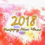 Watercolor Textured/. Happy New Year 2018 Watercolor Colorful Background Watercolor Stains Around Textured Vintage Illustration Wet To Wet Royalty Free Stock Images