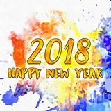 Watercolor Textured/. Happy New Year 2018 Watercolor Colorful Background Watercolor Stains Around Textured Vintage Illustration Wet To Wet Stock Image