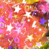 Watercolor textured seamless pattern. Falling Stars and comets. Hand painted illustration Stock Images