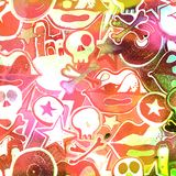 Watercolor textured seamless pattern. Skulls, bones, punks. Grun. Ge. Hand painted illustration Stock Photos