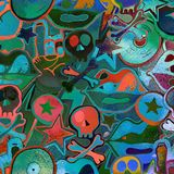 Watercolor textured seamless pattern. Skulls, bones, punks. Grun. Ge. Hand painted illustration Stock Photo