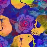 Watercolor textured seamless pattern. Skulls, bones, punks. Grun. Ge. Hand painted illustration Royalty Free Stock Photos