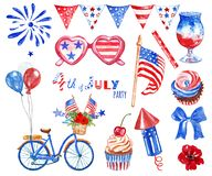 Watercolor 4th of July big hand drawn set with red, white and blue symbols of national USA holiday, isolated on white background