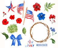 Watercolor patriotic wreath creator. 4th of july symbols, isolated on white background. USA flags, poppies. Watercolor 4th of July set with traditional symbols stock photography
