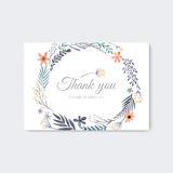 Watercolor thank you card. Elegant wedding thank you card design with handpainted watercolor flowers. Artistic floral summer or spring bridal design Royalty Free Stock Photos