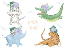 Watercolor Tiger Croc Elephant Lion digital zoo clip art cute animal and flowers.. Party Time text. Greeting Celebration Birthday vector illustration