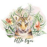 Watercolor tiger illustration and summer paradise tropical leaves jungle print. Palm plant and flower isolated o white. vector illustration