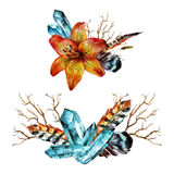 Watercolor Tiger lily. Bouquet of feathers, branches and blue gems.  on white background Stock Images