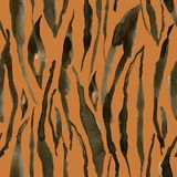 Watercolor tiger stripes seamless pattern. Hand painted beautiful illustration with animal stripes on orange vector illustration