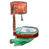 Watercolor toilet green cartoon figure, isolated Royalty Free Stock Images