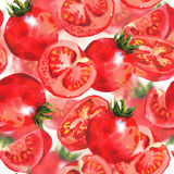 Watercolor Tomatoes Seamless Background Royalty Free Stock Images