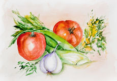 Watercolor tomatoes and spicy greens Stock Photo