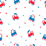 Watercolor toy trains seamless pattern. Royalty Free Stock Photos