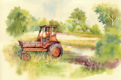 Watercolor tractor Machine in yard. Equipment on the village. Vector illustration. Stock Image