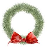 Watercolor traditional Christmas wreath. Hand painted border with fir branches and red bow isolated on white background Stock Photos