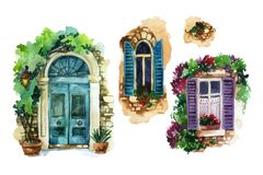 Free Watercolor Traditional Old-fashioned Door And Windows With Potted Flowers, Brick Stones, Lantern Stock Images - 139974154