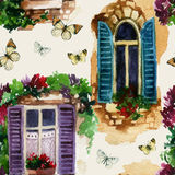 Watercolor traditional old-fashioned window seamless pattern Stock Images