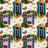 Watercolor traditional old-fashioned window seamless pattern Royalty Free Stock Image